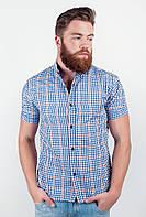 Модная мужская рубашка из приятного материала в мелкую клетку с короткими рукавами сине-оранжевая