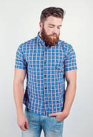 Модная мужская рубашка из приятного материала в оригинальную крупную клетку с короткими рукавами сине-красная, красно-синяя