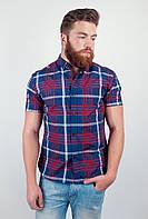 Стильная мужская рубашка из приятного материала в оригинальную крупную клетку с короткими рукавами темно-синяя