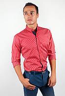 Модная мужская рубашка из приятного материала в мелкую полоску с длинными рукавами красная, горчичная