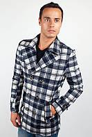 Оригинальное мужское пальто необычного кроя из приятного материала в крупную клетку коричнево-бежевое, сине-молочное