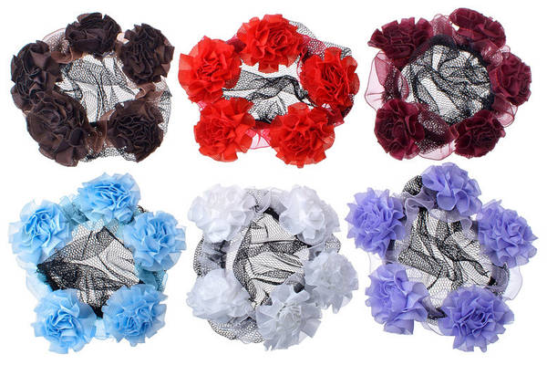 Сеточка с цветочками для пучка