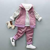 Розовый. Зимний костюм тройка, утепленный, на девочку, дле девочки, теплый