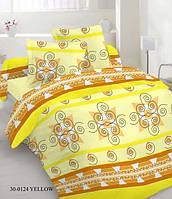 Качественное постельное белье, желтое, абстракция, бязь, двуспальное