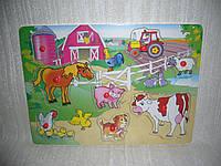Деревянные игрушки рамка вкладыш Ферма 2