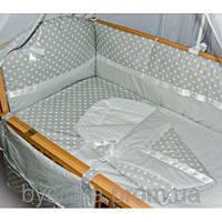 """Детское постельное белье в кроватку из 8 и ед-""""Серый горошек+ полоска"""", фото 1"""