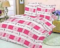 Качественное постельное белье, розовая абстракция, бязь, двуспальное