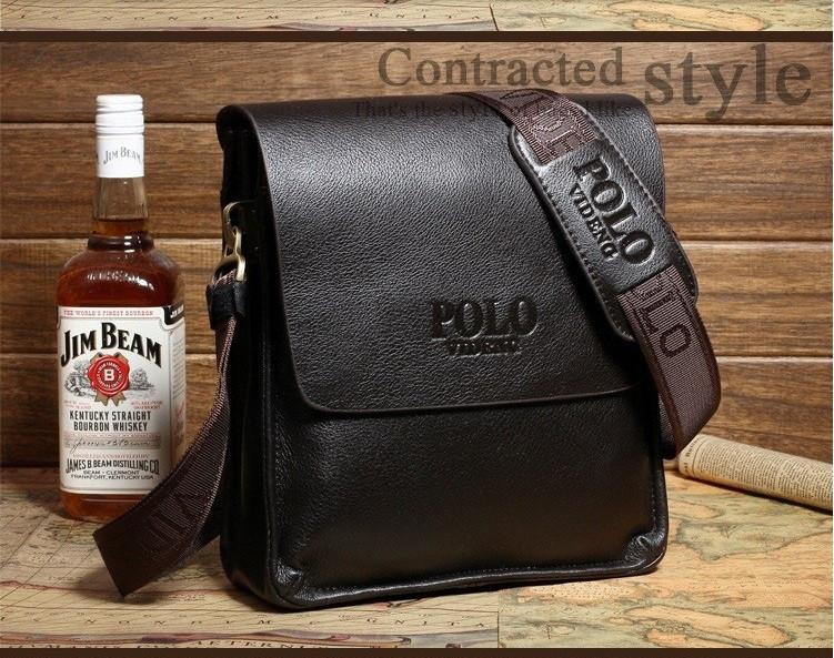 Сумка Polo Videng мужская через плечо коричневая