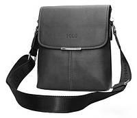 Сумка мужская Поло через плечо. Сумка Polo чоловіча. Кожаная сумка планшетка | Черная