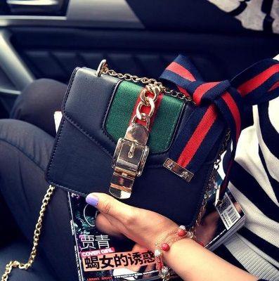 Женская сумка в стиле Gucci | Черная