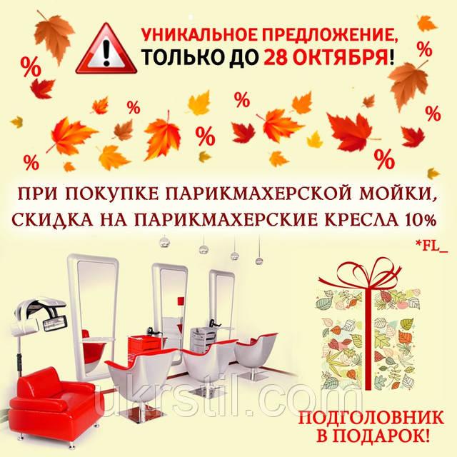 При покупке мойки, скидка 10% на парикмахерские кресла + подарок