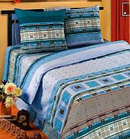 Постельное белье Фланель(байка), Орнамент синий - Семейные комплект