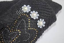 Вязаные перчатки черные, фото 3