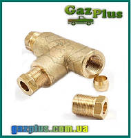 Тройник 8мм. медный, газовых трубок LPG 8мм. - 8мм. GZ-254B