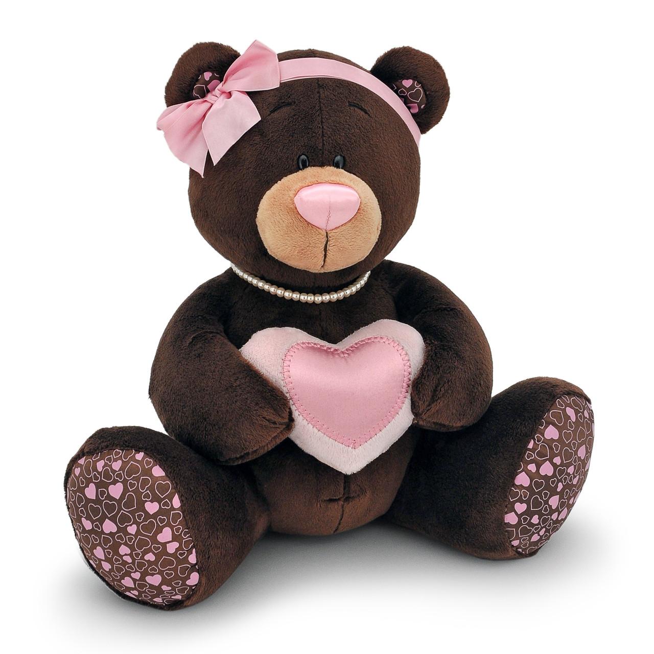 Мягкая игрушка «Orange» (M003/30) медвежонок Milk с сердечком сидячая, 30 см