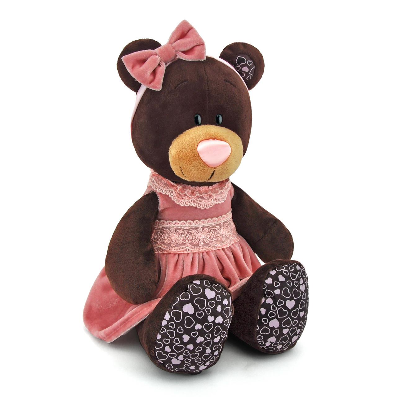 Мягкая игрушка «Orange» (M5043/25) медвежонок Milk в розовом платье сидячая, 25 см