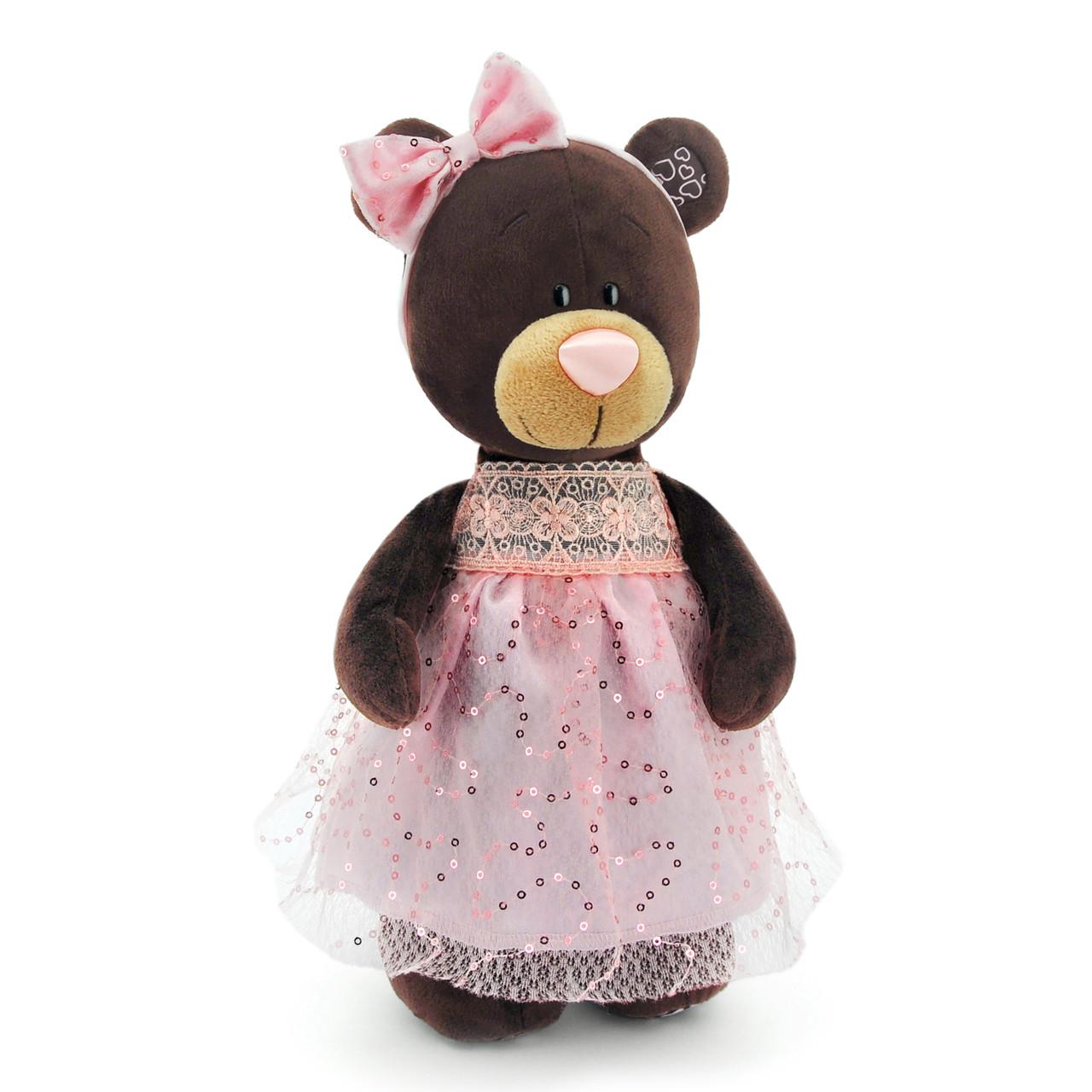 Мягкая игрушка «Orange» (M5048/30) медвежонок Milk стоячая в платье с блёстками, 30 см