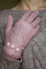 Вязаные перчатки розовые, фото 3