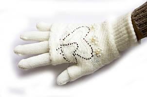 Вязаные перчатки Белые, фото 2