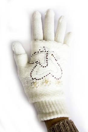 Вязаные перчатки Белые, фото 3
