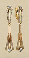 Вертикальные удлиненные золотые серьги 585* пробы с Фианитами