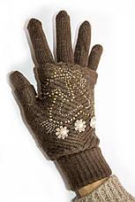 Вязаные перчатки Коричневые, фото 2