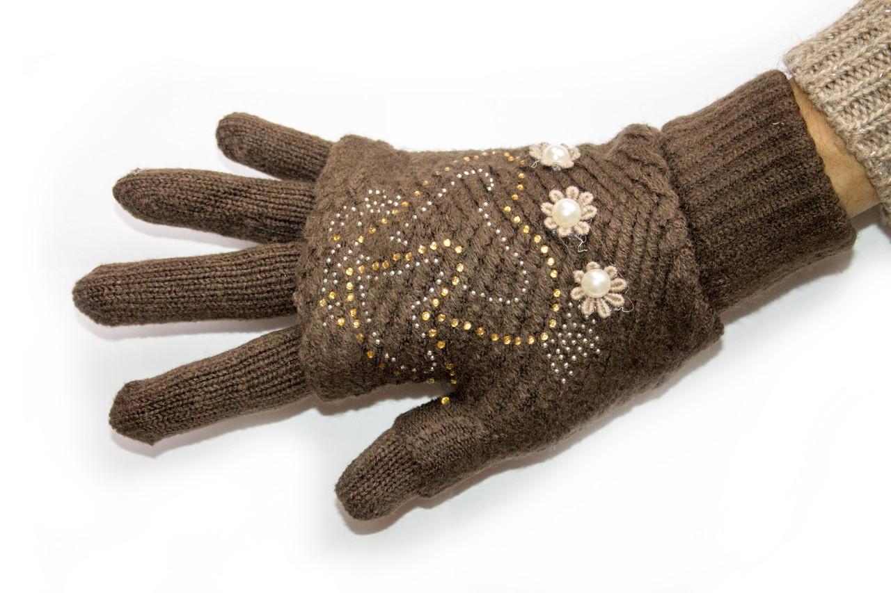 Вязаные перчатки Коричневые