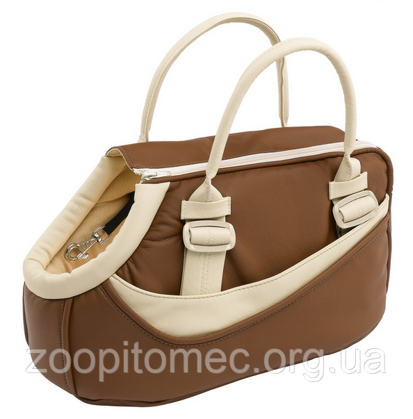 CLASS 10  Сумка коричнева, еко-шкіра/бавовна - сумка-переноска для кошек и собак