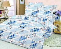 Качественное постельное белье, голубое, цветы, бязь, полуторное