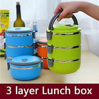 Переносная ёмкость для хранения продуктов 3 Layer Stainless Steel Lunch Box (3 шт.)
