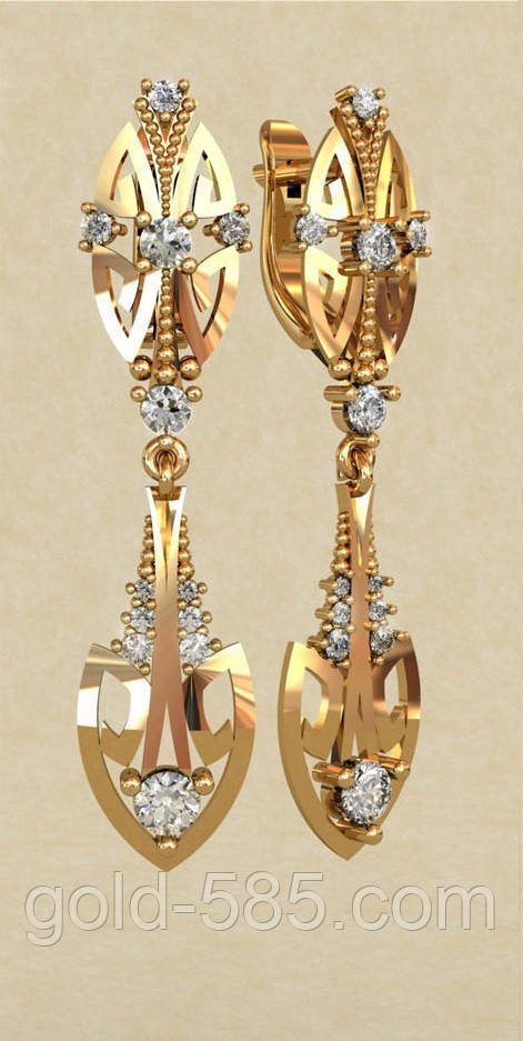 15b5744fb115 Притязательные вертикальные удлиненные золотые серьги 585  пробы с Фианитами