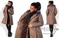 Пальто женское бежевое ДВ/-06 42, черный