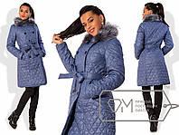 Пальто женское голубое ДВ/-06 42, черный
