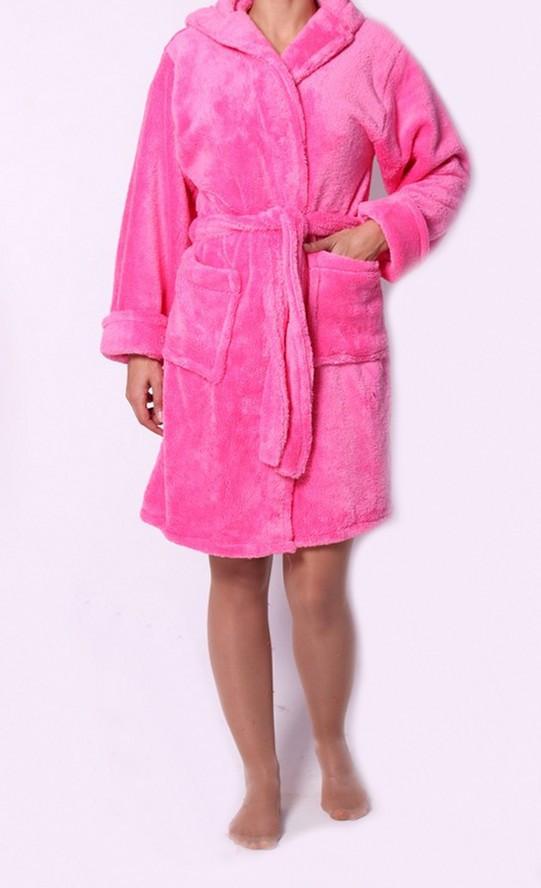 Розовый махровый женский халат с капюшоном