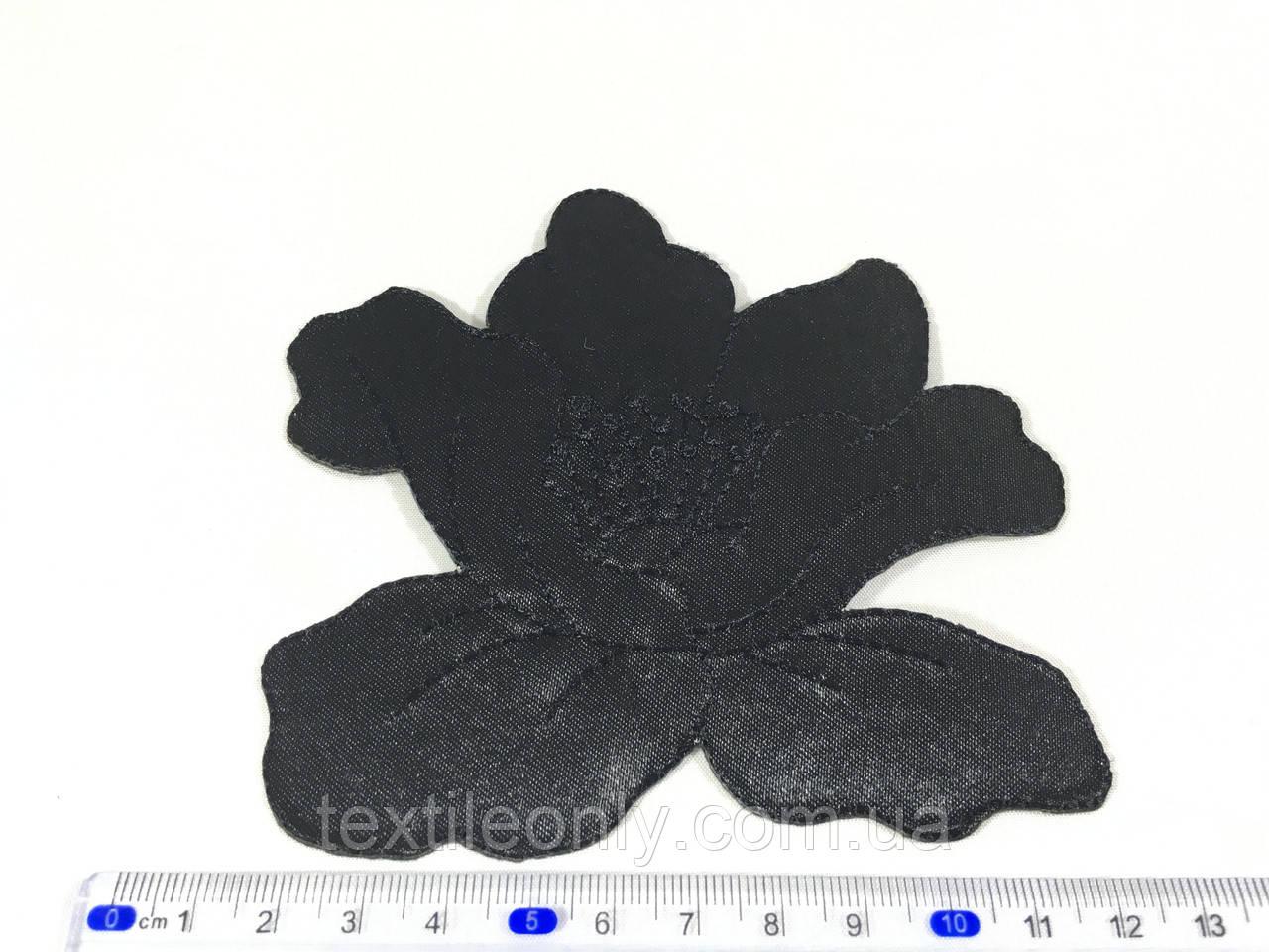 Нашивка мак цвет черный big