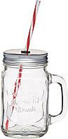 Кружка стеклянная с крышкой и трубочкой Kitchen Craft 450 мл (514523)