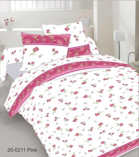 Качественное постельное белье, бело-розовое, бязь, полуторное