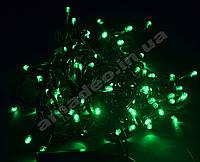 Уличная Гирлянда светодиодная нить, 10 м черный каучуковый провод - цвет зеленый