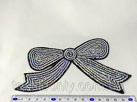 Нашивка бантик с пайетками серебро, фото 2