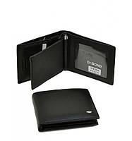Мужской кошелек Dr. Bond из натуральной кожи с вложенным портмоне и ручкой. Портмоне мужское. Черный.
