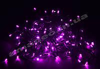 Уличная Гирлянда светодиодная нить, 10 м черный каучуковый провод - цвет розовый