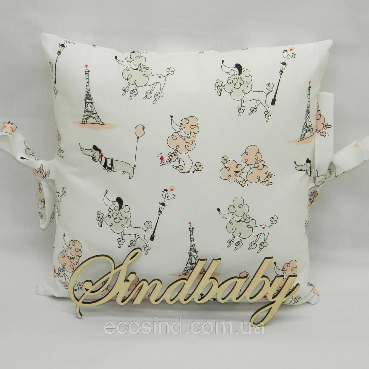 Бортики подушки в кроватку, Подушка бязь 30х30 -34
