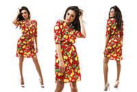 Красивое платье из шифона лимоны прямое с пояском