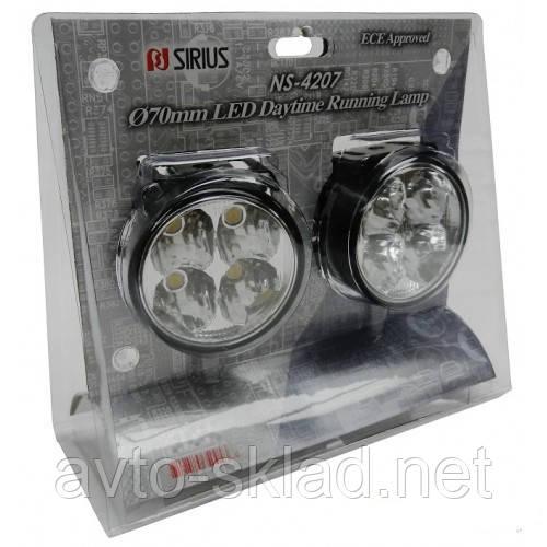 Дневные ходовые огни 4 диодов 0,5W D-7см (светодиодные фары дневного света)