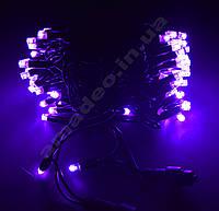 Уличная Гирлянда светодиодная нить, 10 м черный каучуковый провод - цвет фиолетовый, с переходником