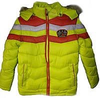 Модная зимняя куртка-парка для мальчика 5-11лет. Цвет - лимонный