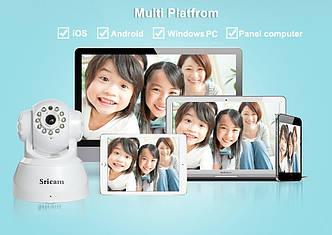 Рухома WIFI ip HD камера нічного бачення Sricam SP012 чорна