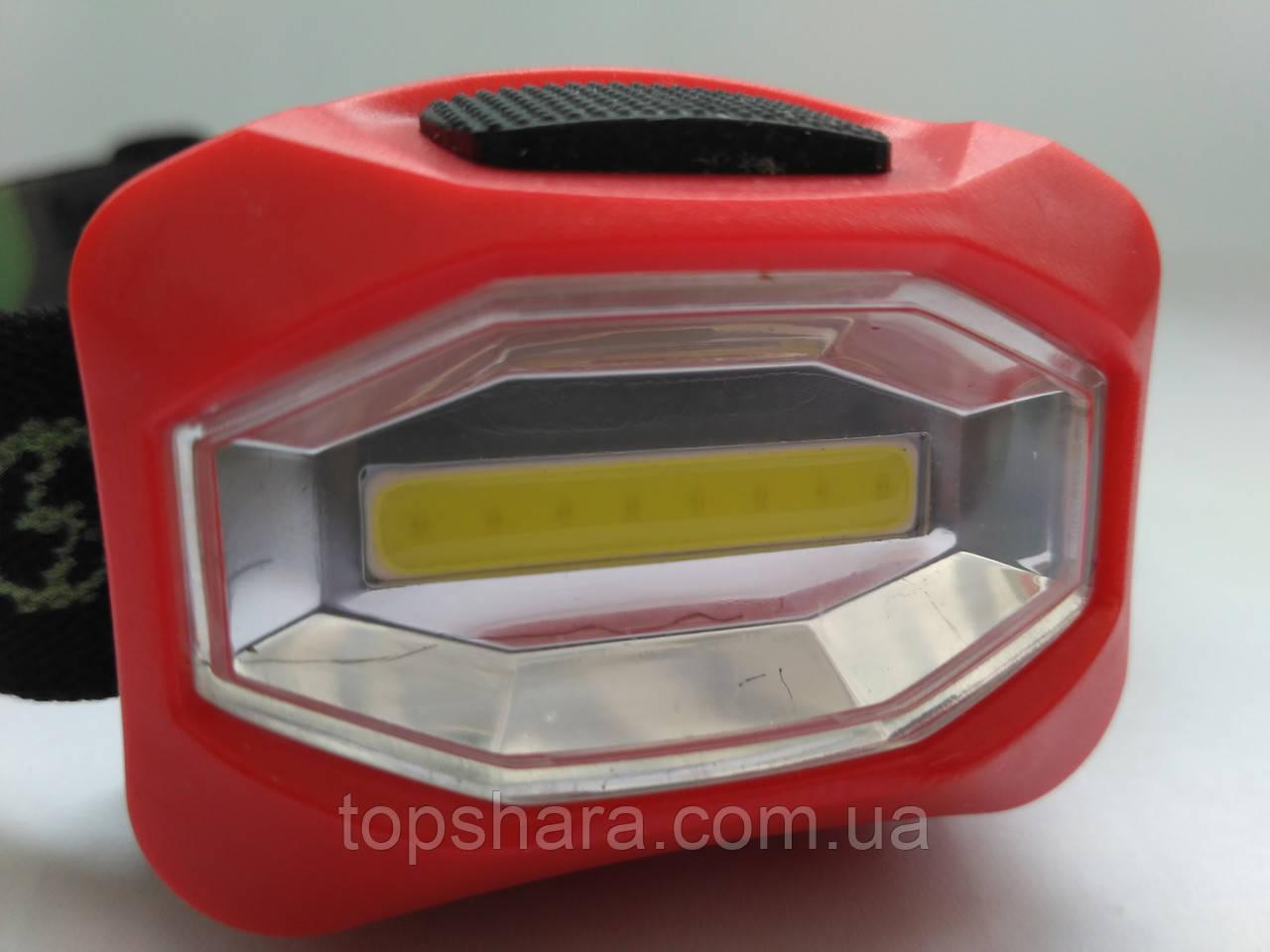 Налобный фонарь Bailong BL-3088-COB, фонарик красный