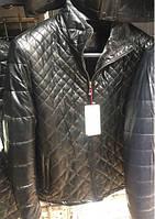 Мужская куртка стеганая зима на меху Black эко кожа, ДО 58 РАЗМЕРА