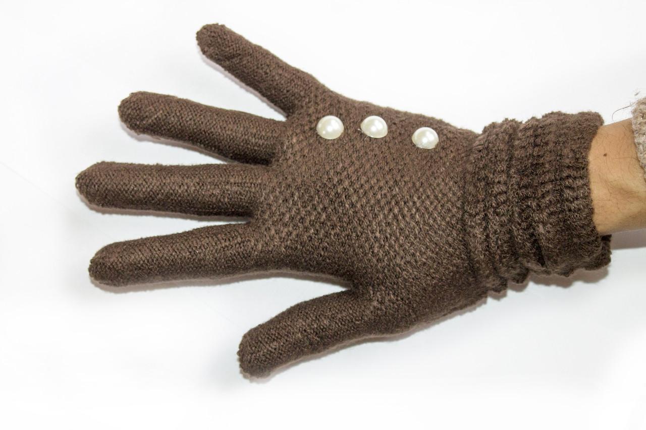Вязаные перчатки темно-коричневый